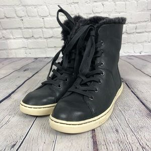 Black leather lace up sneakers buy Uggs